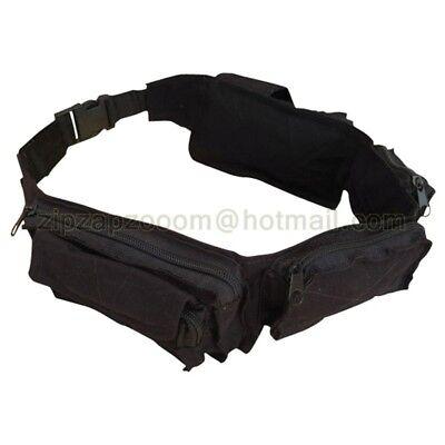 Army Military Combat Utility Belt Waist Money Travel Bum Bag Retro Surplus Black