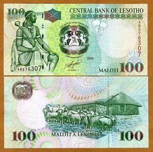 Lesotho-100-Maloti-2009-King-Moshoeshoe-P-19-New-UNC