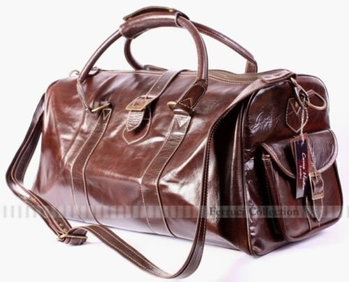 2820S Brown Duffle Weekend Holdall Leather Travel Bag