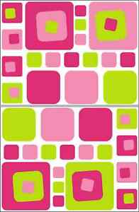 36-PINK-amp-GREEN-SQUARE-GIRLS-WALL-DECAL-STICKER-BEDROOM-VINYL-NURSERY-TEEN