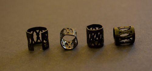 20 Black DREADLOCK BEADS DREAD Hair Beads 8mm Hole + FREE TIBETAN SILVER BEAD