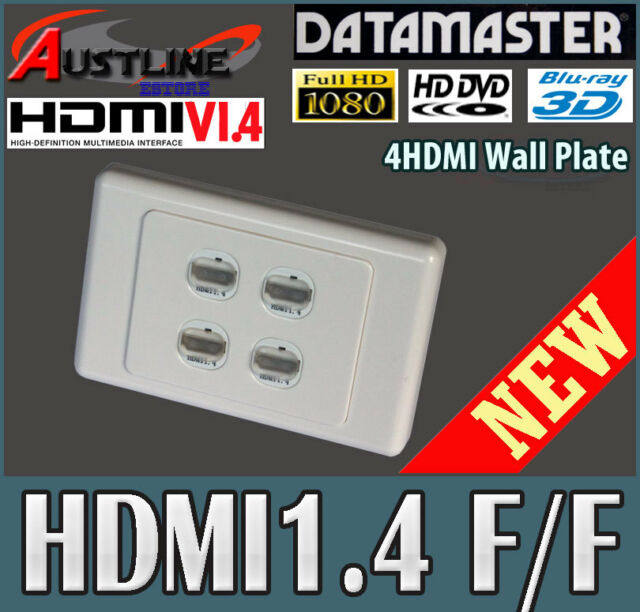 4Port Gang Clipsal Style Wall Plate 4 HDMI V2.0 /1.4 Gold Plate 3D 4K +C-Clip