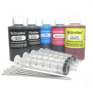 Stratitec-4-Color-Premium-Inkjet-Ink-Refill-15oz-425ml-With-Injection-Syringes