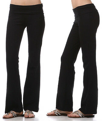 YOGA Pants Basic Long Fitness Foldover Waist Plain Womens Workout Gym Zenana