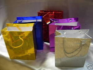 100-Mix-Metallic-Paper-Carrier-Gift-Bags-8-5-034-27cmx23x7-5cm