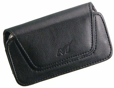 NEW BLACK LEATHER POUCH CASE WITH BELT CLIP FOR MOGUL PPC-6800 HTC 8525 TREO 700