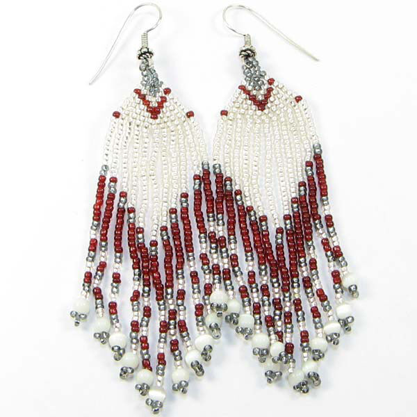 IRIS WHITE GARNET GREY SEED BEADED EARRINGS WHOLESALE