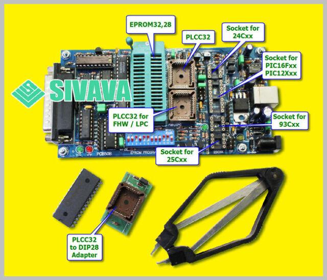 SIVAVA Universal Willem EPROM Programmer PCB50B ECU BIOS PIC SPI Flash EEPROM