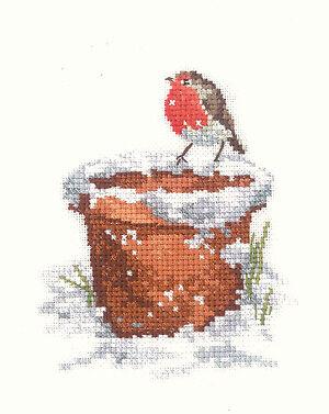NEW HERITAGE SUE HILL COLLECTION GARDEN FRIEND ROBIN BIRDS CROSS STITCH KIT 14CT