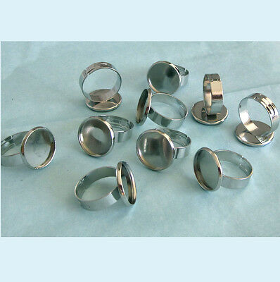 10 Pieces of WG Color Adjustable Blank Ring 14mm Bezel Base For 12mm Cabochon