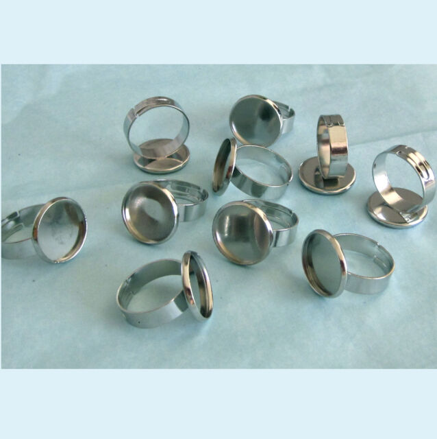 10 Pieces of WG Color Adjustable Blank Ring 20mm Bezel Base For 18mm Cabochon