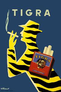 Vintage Decoration & Design TRAVEL Poster.Tiger Smoking ad.Art Decor.449