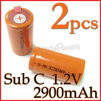 2 SubC Sub C 2900mAh NiMH Rechargeable Battery Tab O