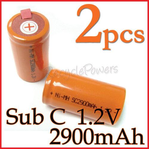 2 SubC Sub C 2900mAh NiMH Rechargeable Battery Tab O
