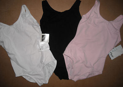 NWT CAPEZIO TANK LEOTARD white black pink Ballet leg cc201 Child /ladies szs