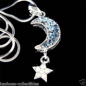Blue-w-Swarovski-Crystal-Dream-CRESCENT-MOON-Wish-STAR-Chain-Pendant-Necklace