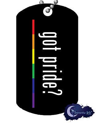 Got Pride? - Rainbow Dog Tag & Chain - Gay, GLBT, LGBT Pride Necklace