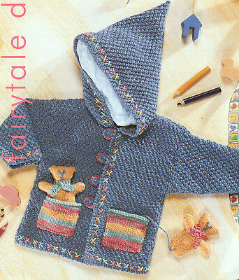 Kids Hooded Jacket Knitting Pattern With Pocket Teddies