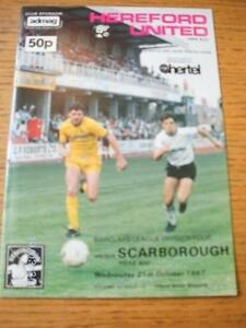 21-10-1987-Hereford-United-v-Scarborough-1st-League-Season-Scarborough-No-ob