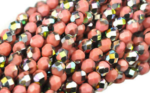50 PINK VITRAL FACETED GLASS ROUND BEADS 6MM