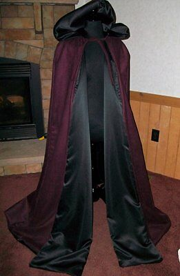 Suede Renaissance Medieval Hooded Vampire Cloak Cape Wicca THE WITCH'S SPINDLE