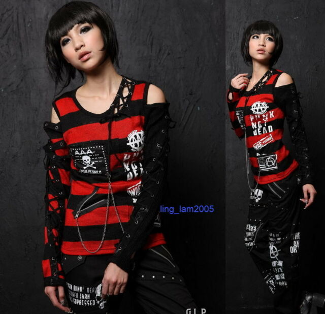 PUNK NET GOTHIC LABEL CHAIN EX-SLEEVES SHIRT TOP 71188 RED STRIPED S-L