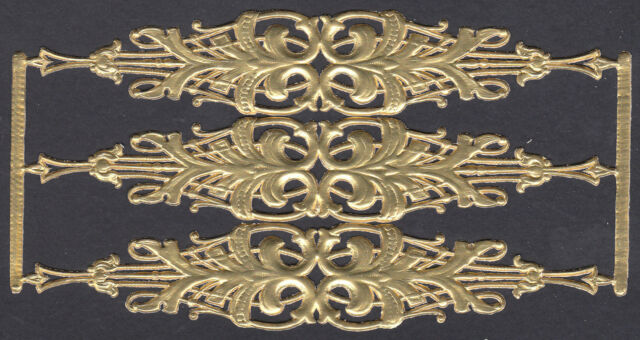 DECORATIVE BANNER FILIGREE CUTWORK PAPER GOLD FLOURISH DRESDEN GERMAN PAPER