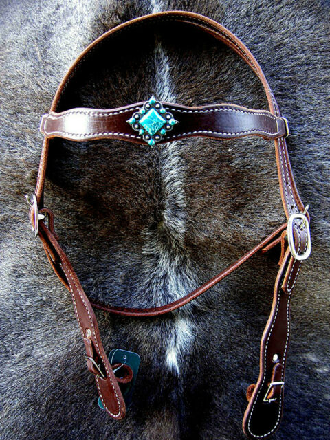 Horse Bridle Western Leather Headstall Bridle Amish Made USA Tack Brown Rodeo W8