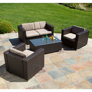 Outdoor-Patio-Furniture-Brown-All-weather-PE-Wicker-4pc-Sofa-Seating-Set