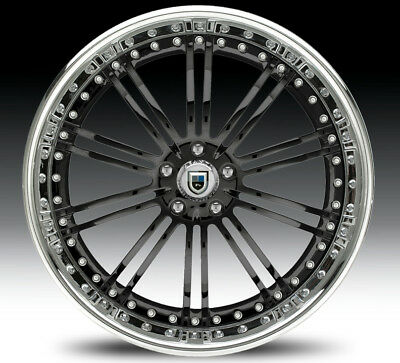 "24"" Asanti AF128 Black Chrome Wheels Rims 3 Piece"