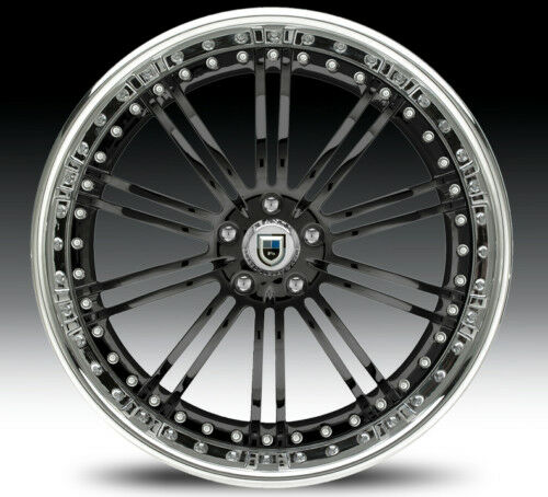 "24"" Asanti AF128 Black Chrome Wheels Rims 3 Piece"