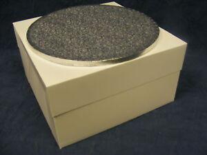10 Quot Inch Round Silver Cake Drum Amp White Cake Box Set Ebay