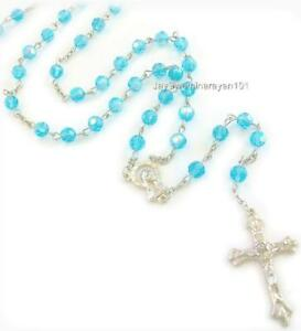 Blue-AB-Crystal-Rosary-Glass-Beads-Cross-Necklace-28