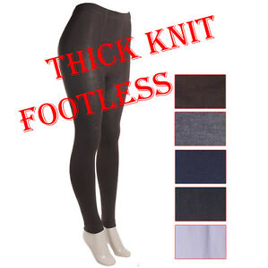 Womens-warm-thick-knit-footless-tights-leggings-black-blue-white-brown-gray