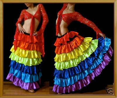 RAINBOW TRIBAL BELLY GYPSY GAY PRIDE RUFFLE SKIRT DANCE