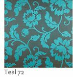 TEAL-floral-flowers-jacquard-upholstery-curtain-Roman-blinds-bed-spread-Fabric