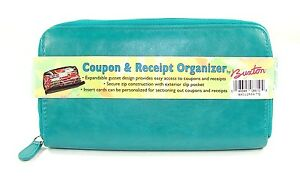 Buxton-Grocery-Coupon-Travel-Receipt-Organizer-Wallet-Case-Holder-Turquoise-New