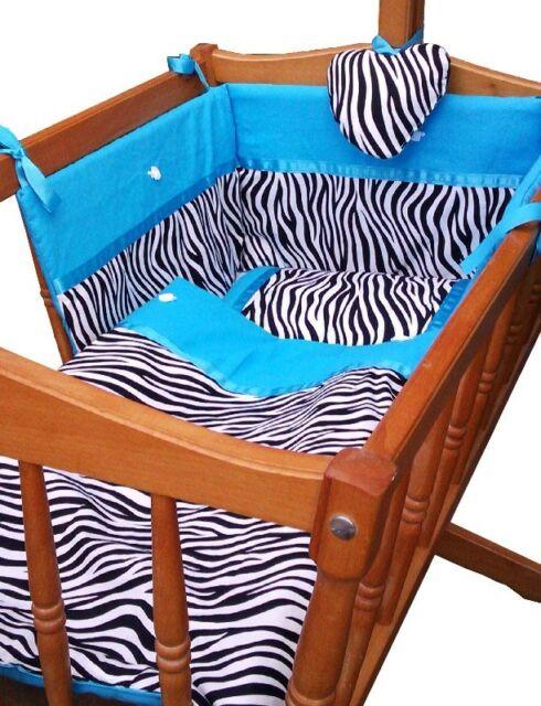 4 pc Nursery Cradle/cot Crib Set - Black and White Zebra Print /Torques