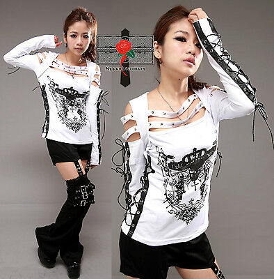 Jpop Visual Kei SkullCrown Open Shoulder Punk Rockabilly Ninja String Sexy Top W