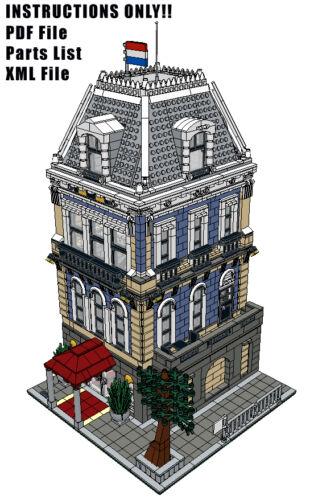 Lego Custom Modular Building - Amsterdam Hotel - INSTRUCTIONS ONLY!! 10185 10182
