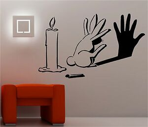 Image Is Loading RABBIT SHADOW Graffiti Wall Art Sticker Lounge Bedroom