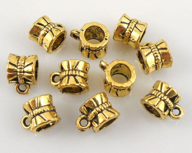 50 Antique Gold Plated Bails Beads 5mm Hole Fit Charm Bracelet J010