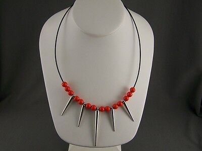 """Orange beaded Silver spike Black wire necklace dangle Spiked 18"""" - 19.5"""" long"""