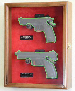 Large/ Double Pistol Handgun Revolver Gun Display Case Cabinet Rack Shadowbox