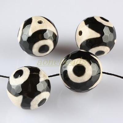 10*16mm Faceted Black Agate Tibetan Heaven Eye Gemstone GEM Loose Beads Findings