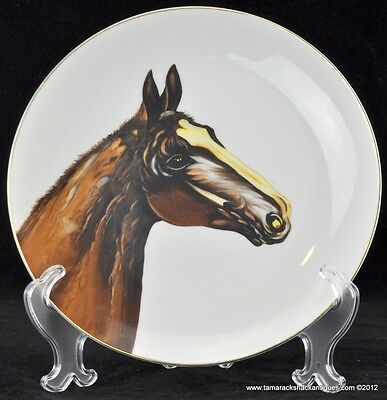 "Norcrest Fine China Hand Painted Chocolate Colored Horse 10"" Hanging Plate VTG"