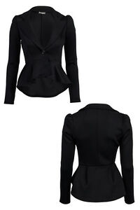 WOMENS-CASUAL-BLACK-BLAZER-LADIES-NEW-PEPLUM-DETAIL-FITTED-DAY-JACKET-SIZE-8-14