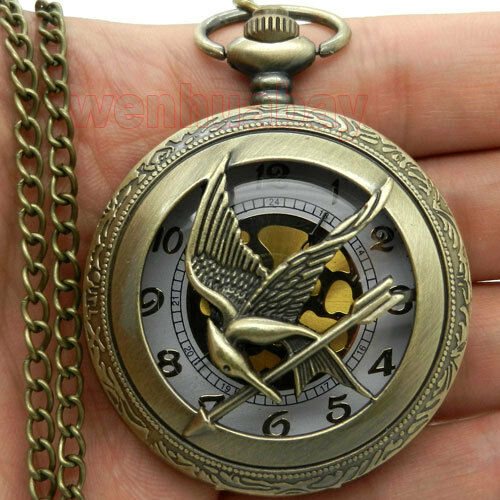 Crane Hold  Arrow  Pocket Watch Necklace Pendant Chain Xmas Gift P104
