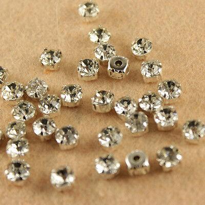 144pcs CLEAR SEW-ON GLASS DIAMANTE RHINESTONE BEAD CRYSTAL dress/jewels diy y-pk