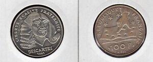 FRANCE-100-F-argent-DESCARTES-philosophe-1991-superbe